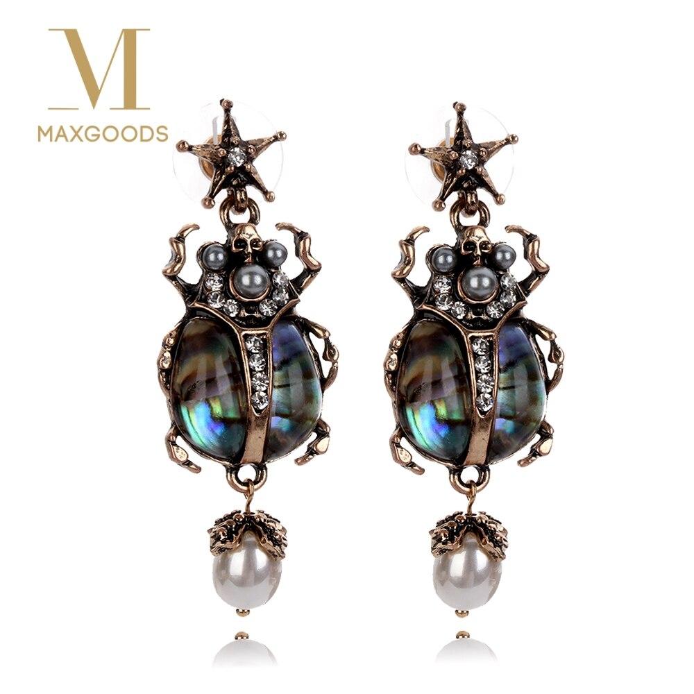 Женские винтажные серьги, 1 пара, серьги подвески из сплава в стиле ретро со звездами, насекомыми, черепами и жемчугом, ювелирные изделия|Серьги-подвески| | АлиЭкспресс