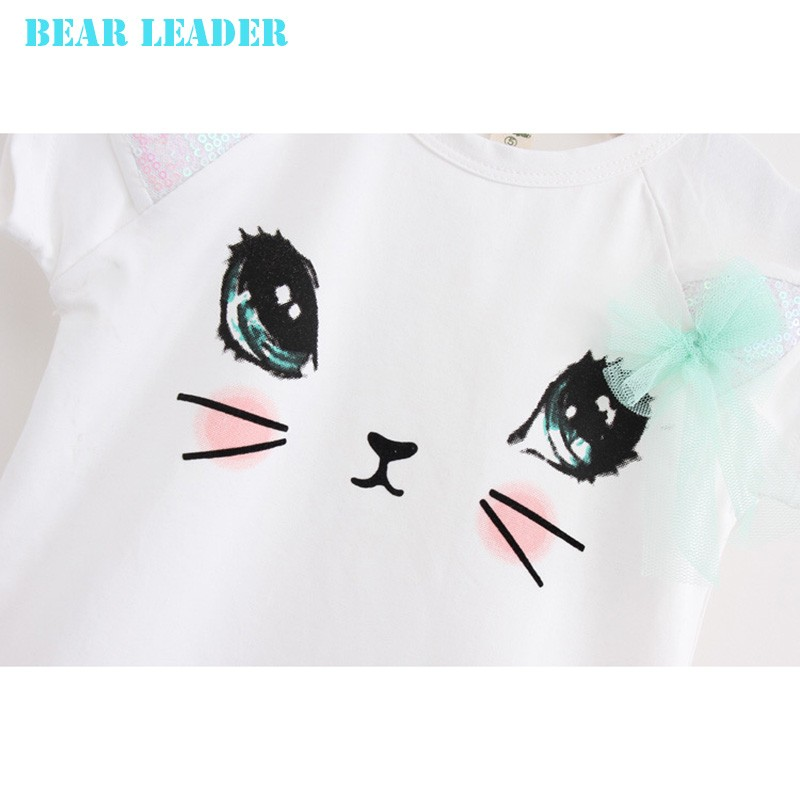 Bear Leader Girls Clothing Sets New Summer Fashion Style Cartoon Kitten Printed T-Shirts+Net Veil Dress 2Pcs Girls Clothes Sets 45