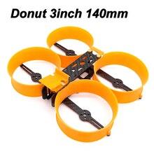 Donut kit com mini drone de 3 polegadas, 140 140mm, quadro tipo h com prop guard compatível com 1306 1407 motors para diy rc fpv racing