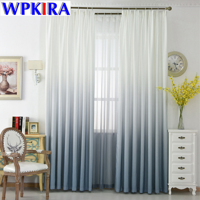 White And Grey Curtains Living Room Gradient Semi Blackout Cloth ...