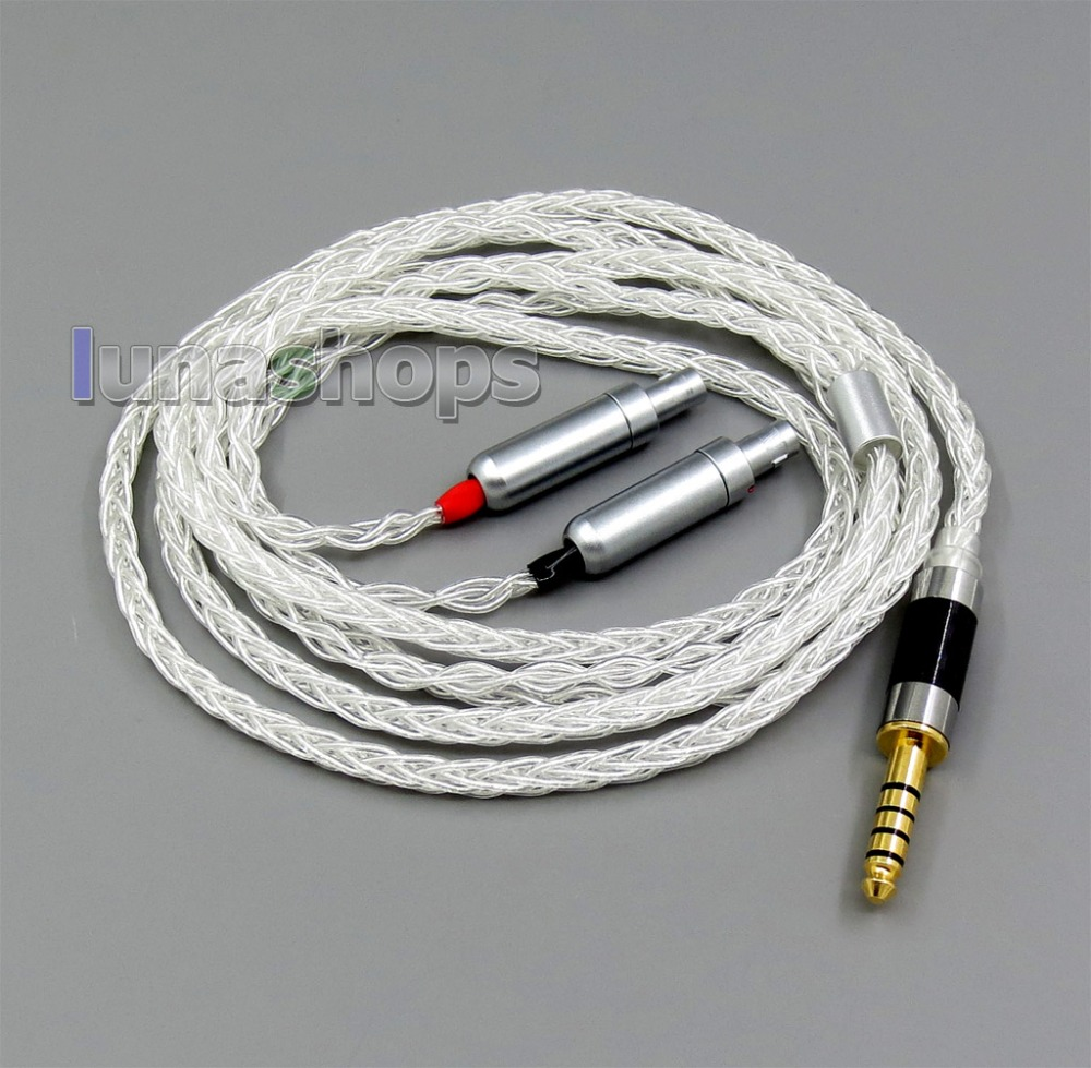 8 core 2.5mm 3.5mm 4.4mm Balanced Pure Silver Plated OCC Earphone Cable For Sennheiser HD800 HD800s balanced wire balanced cable balanced line pure silver wire diy earphone wire