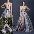 2016 пром платья паоло себастьян шея кап-рукава аппликации цветы линия сплит сторона сексуальная модест торжества вечерние ну вечеринку платья