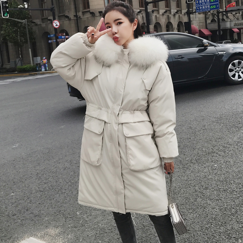 Big Size Women Outwear White Coat 2019 Winter Jacker Women Warm Fur   Parkas   Female Casual Coat Warm Black Winter   Parka   Women