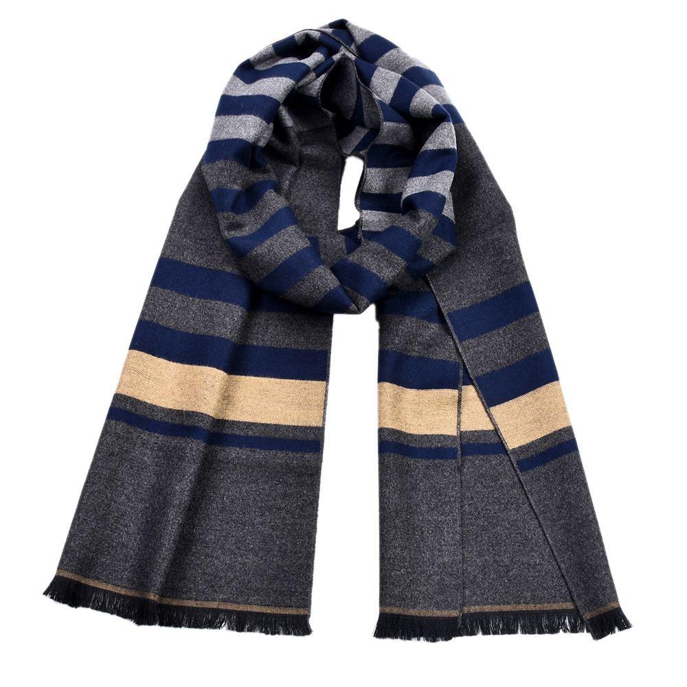 1 Pc Doppel-seitige Striped Quasten Schal Schal Männer Winter Baumwolle Warm Muffler Schal Für Männer