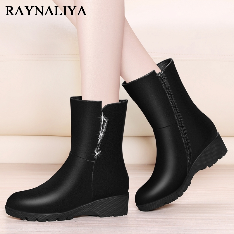Genuine Sheepskin Leather Mid Calf Boots For Women Martin Wedges Round Toe Med Heel Short Boots Dress Shoes Woman YG-A0044 prova perfetto black handmade women genuine leather mid calf boots buckle straps martin boots women platform rubber shoes woman