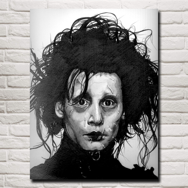 FOOCAME Tim Burton Movies Edward Scissorhands Classic Home Decoration Pictures Art Silk Fabric Poster and Prints Living Room