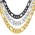 Los hombres De Oro Figaro Collar de Estilo Hip Hop de Oro//Negro Pistola Plateado Collares de Cadena de Los Hombres Collar de la Declaración Al Por Mayor N226G