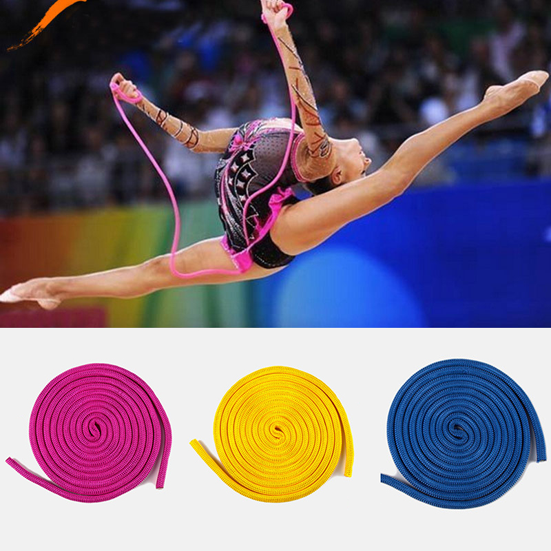 10mm*3m Solid Color Gradual Change Artistic Gymnastics Rope Training Competition Special Gymnastics Ribbons Professional Sport A