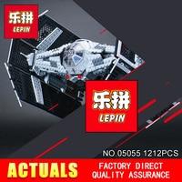 LEPIN 05055 1212Pcs Star Wars Vader TIE Advanced Fighter Aircraft Model Building Kit Blocks Bricks Compatible