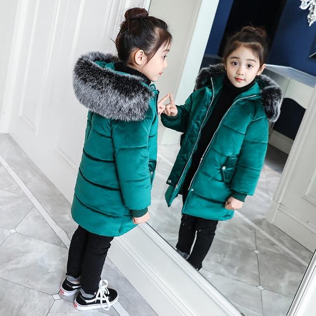 11917d197dad 2018 New Girls Long Padded Jacket Kids Winter Coat Kids Warm ...