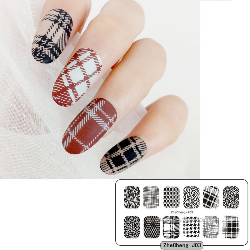 1 Pcs 6x12CM Nail Stamping Plate Art Grid lines Flowers Bueaty Girls Transfer Printing Template Polish Stencils
