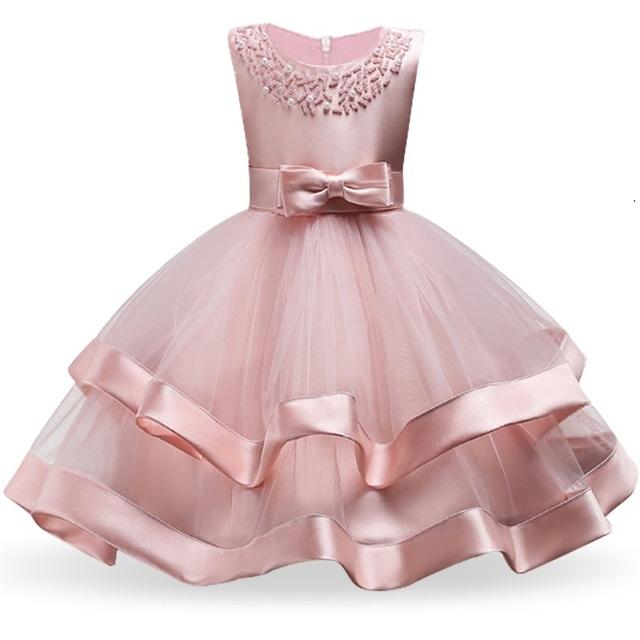 Flower Cake tutu Kids Clothing Elegent hand beading Girls Dresses for Children Princess Party Custumes 2-10 Years