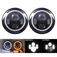 40W 2pcs 7 inch Round LED Driving Light H4 H13 LED Car Headlight kit H4 For Jeep LED Head Lamp Bulbs Hi / low beam with Halo