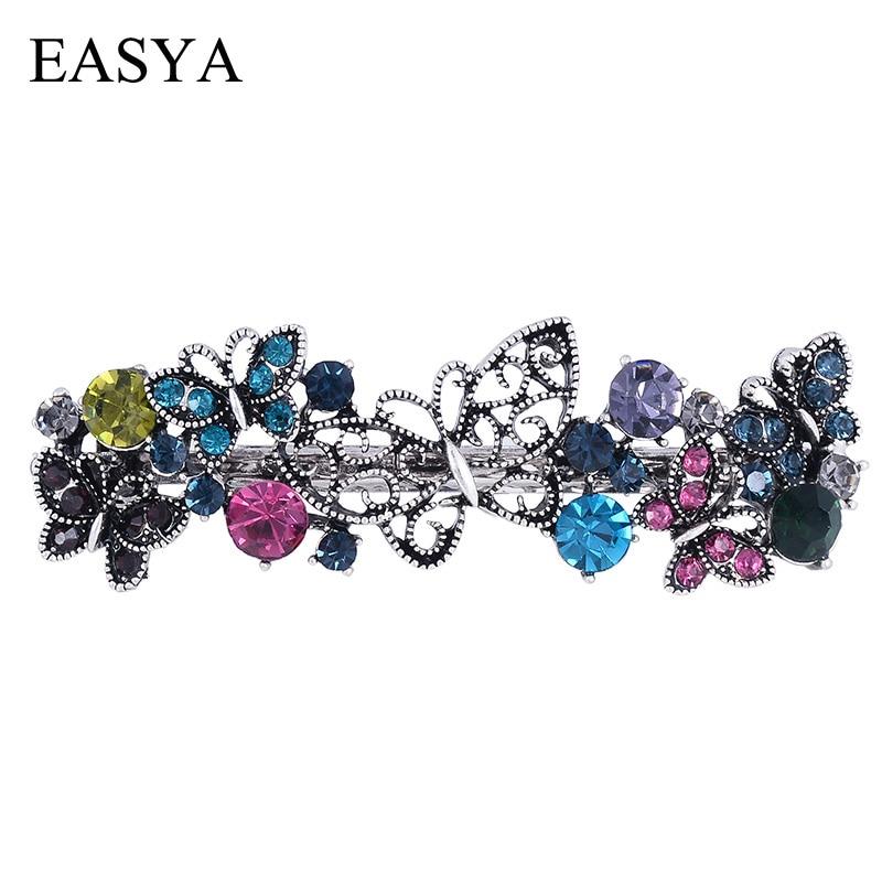 EASYA Vintage Metal Butterfly Hairpin Clips Ornaments Retro Rhinestone Crystal Barrettes Hairwear Hair Accessories