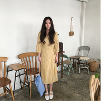 Chic Plaid Retro Gentle Bandages Korean Version Small Fresh V Neck Dress Mori Girl 2018