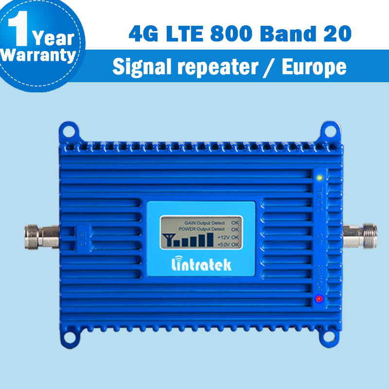 Lintratek Band 20 4G Amplifier LTE 800 DD Europe Mobile Phone Signal Booster 70dB Cell Phone Amplifier 4g Lte 800mhz Repeater 21