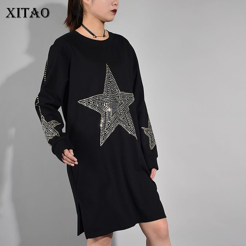 [XITAO] 2017 Autumn New Women Casual Loose Solid Color Dress Straight Star Pattern Knee-Length Full Sleeve O-Neck Dress KY582