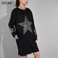 [XITAO] 2017 Autumn New Women Casual Loose Solid Color Dress Straight Star Pattern Knee Length Full Sleeve O Neck Dress KY582