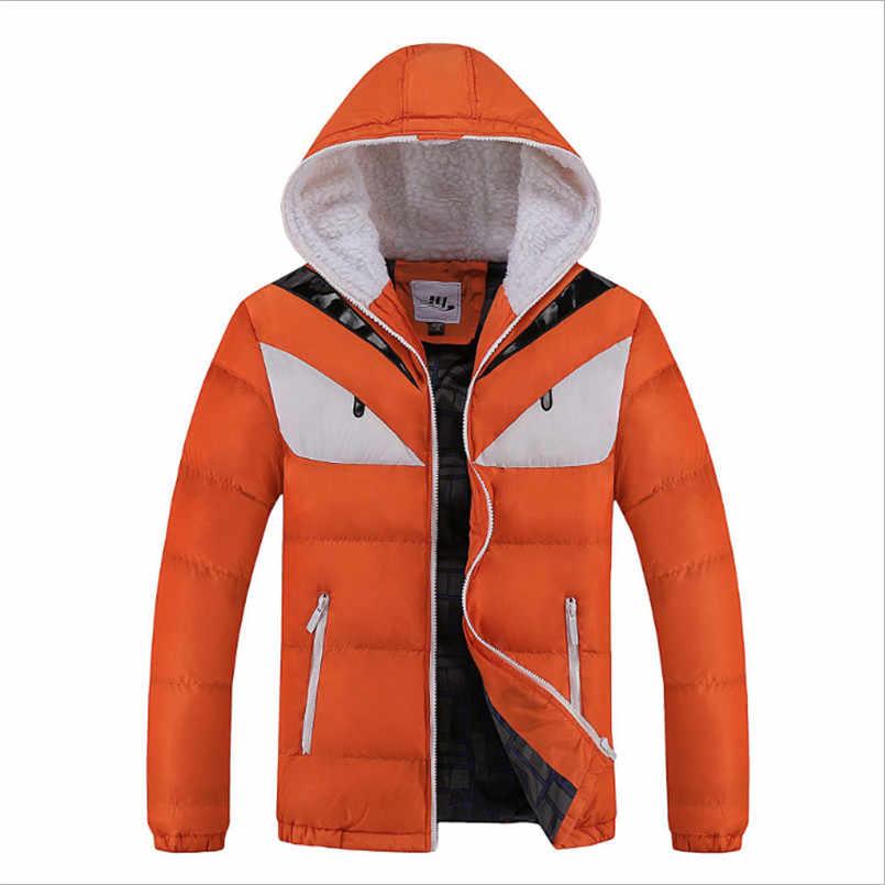 2018 толстые куртки-бомберы мужские модные парки с воротником-стойкой мужские повседневные парки с хлопковой подкладкой в стиле пэчворк с капюшоном пальто