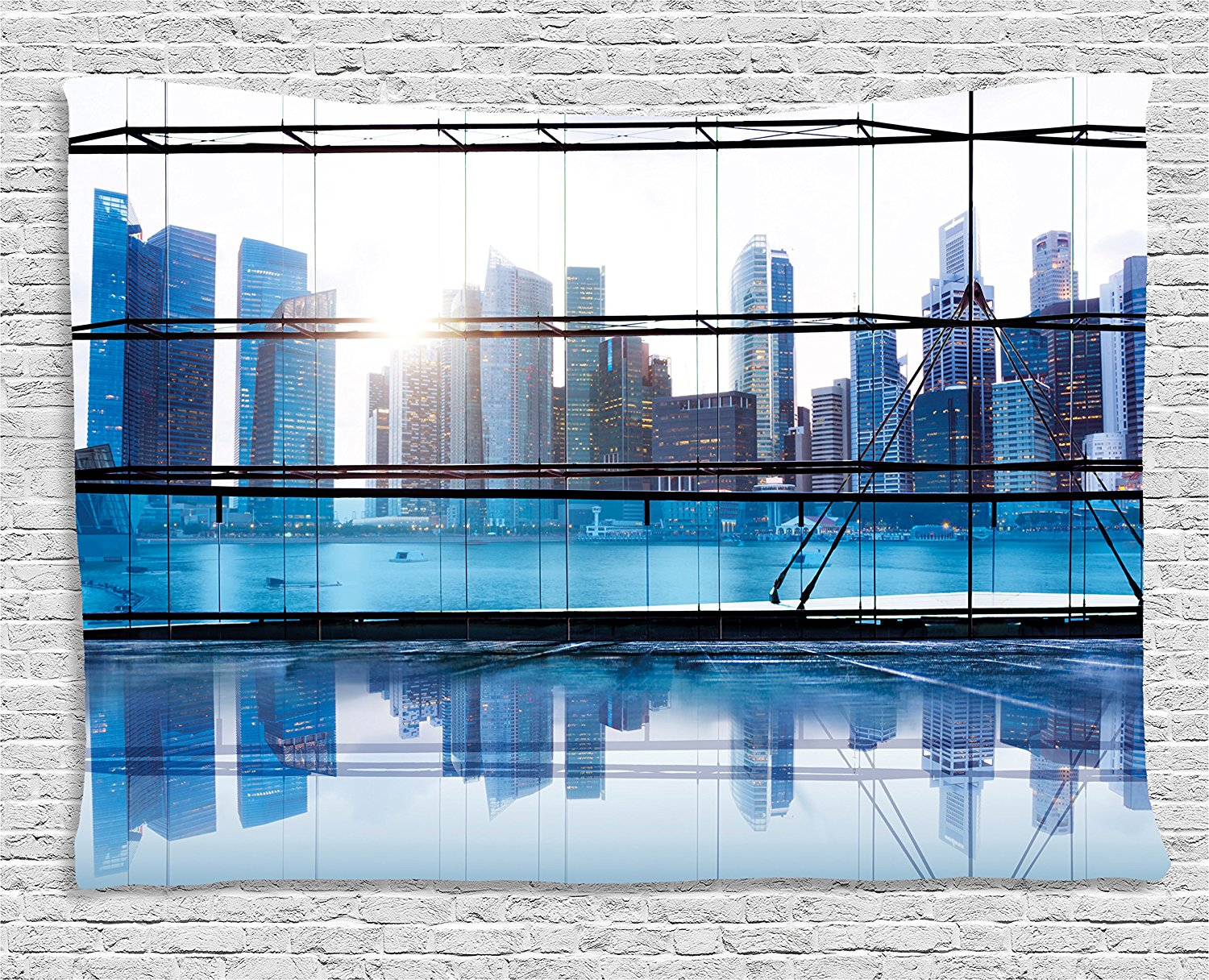 Office Decor Tapestry Urban Cityscape View with Skyscrapers Buildings Image Photo, Wall Hanging for Bedroom