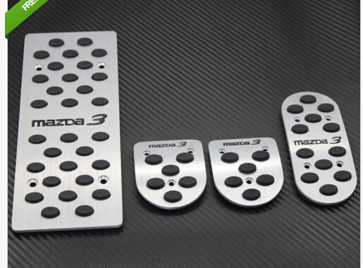 Aluminum Sports Fuel Brake Foot Rest MT pedals pads pad Fit For Mazda 3 2 brand new 3pcs aluminium non slip foot rest fuel gas brake pedal cover for mazda 3 at 2011 2015