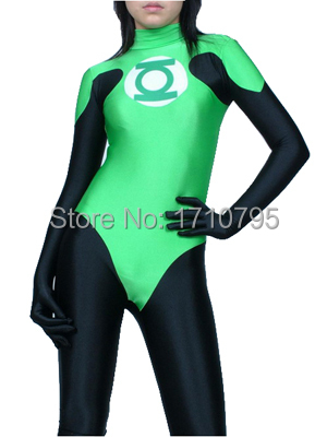 Green Lantern Costume The Most Popular Lycra Spandex Halloween Cosplay Superhero Costume Fullbody Zentai Suit Free Shipping