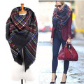 WJ94 Promotions!!! New 2014 Winter Women Brand Large Tartan Scarf Pashmina Blanket Warp Shawl Black Plaid Scarves Free Shipping