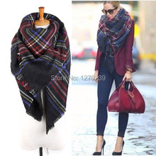 WJ94 Promotions New 2014 Winter Women Brand Large Tartan Scarf Pashmina Blanket Warp Shawl Black Plaid