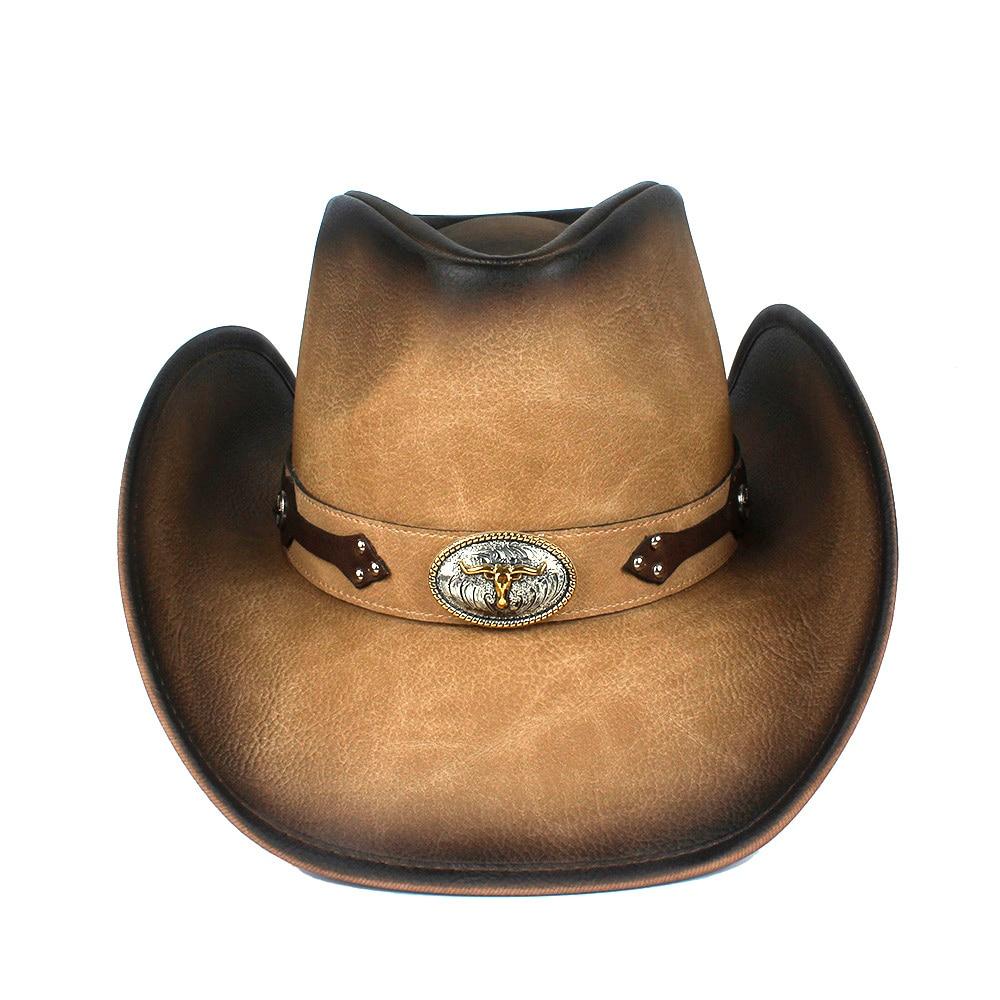 100% Leather 9 Stlye Western Cowboy Hat For Women Men Fedora Hat Gentleman Dad Cowgirl Sombrero Hombre Jazz Caps Size 58-59CM 4