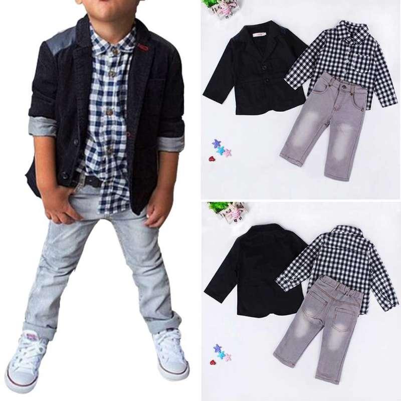 2018 Summer Baby Boys Suits Clothes Gentleman Boys Children Shirts Pants Kids Suit Jacket + Plaid Shirt + Jeans 3pcs/set big teenage boys clothes set summer 2017 kids colorful striped t shirts