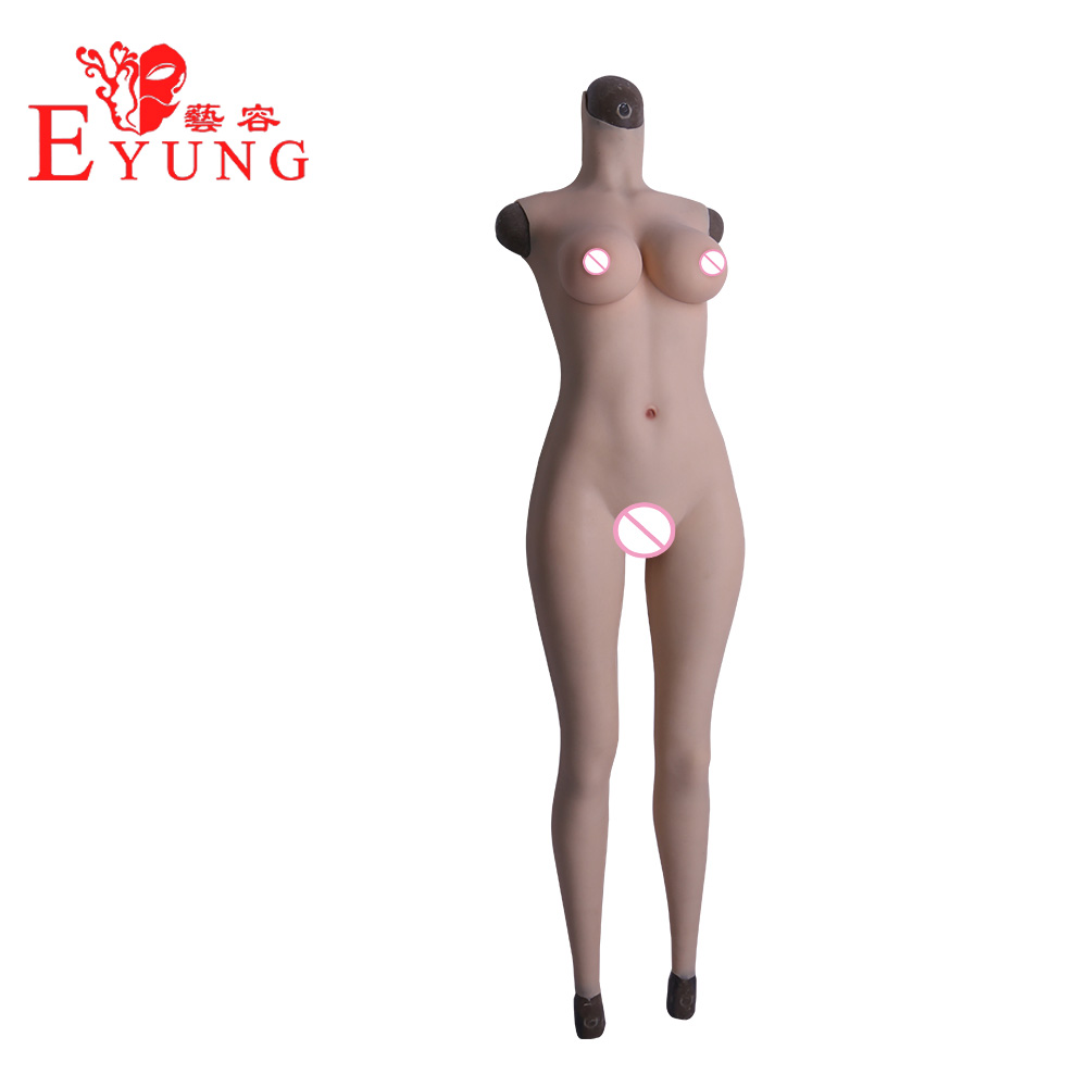 Eyung Silicone Formas de Mama Copo D-tamanho Falso Da Vagina Artificial para Crossdresser Cosplay Transgender fatos de corpo inteiro feminino