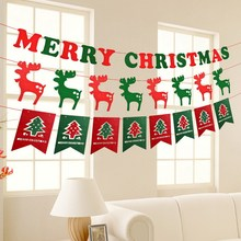 Merry Christmas Xmas Gift Hang Window Tree Part Decoration Pull Flag Red and Green Party Pub Banner Decorate
