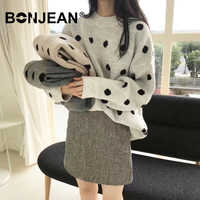 Oversized Sweater Women Winter Clothes Polka Dot Pullover Pull Femme Hiver Jumpers Ladies Knitted Sweater Streetwear Z207