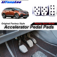 LitangLee Car Accelerator Pedal Pad Cover Foot Throttle Pedal Cover Sport Racing Model For peugeot 3008 MK1 MT 2008~2016