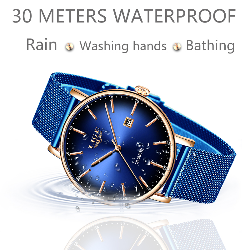 Image 5 - LIGE Fashion Mens Watches Top Brand Luxury Blue Waterproof Watches Ultra Thin Date Simple Casual Quartz Watch Men Sports Clock-in Quartz Watches from Watches