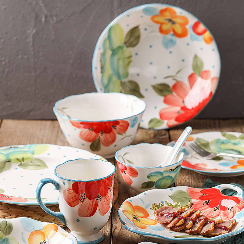 Flowers Beautiful & delicacy Dinnerware Sets Ceramic Tableware The plates dishes bowl  Breakfast set