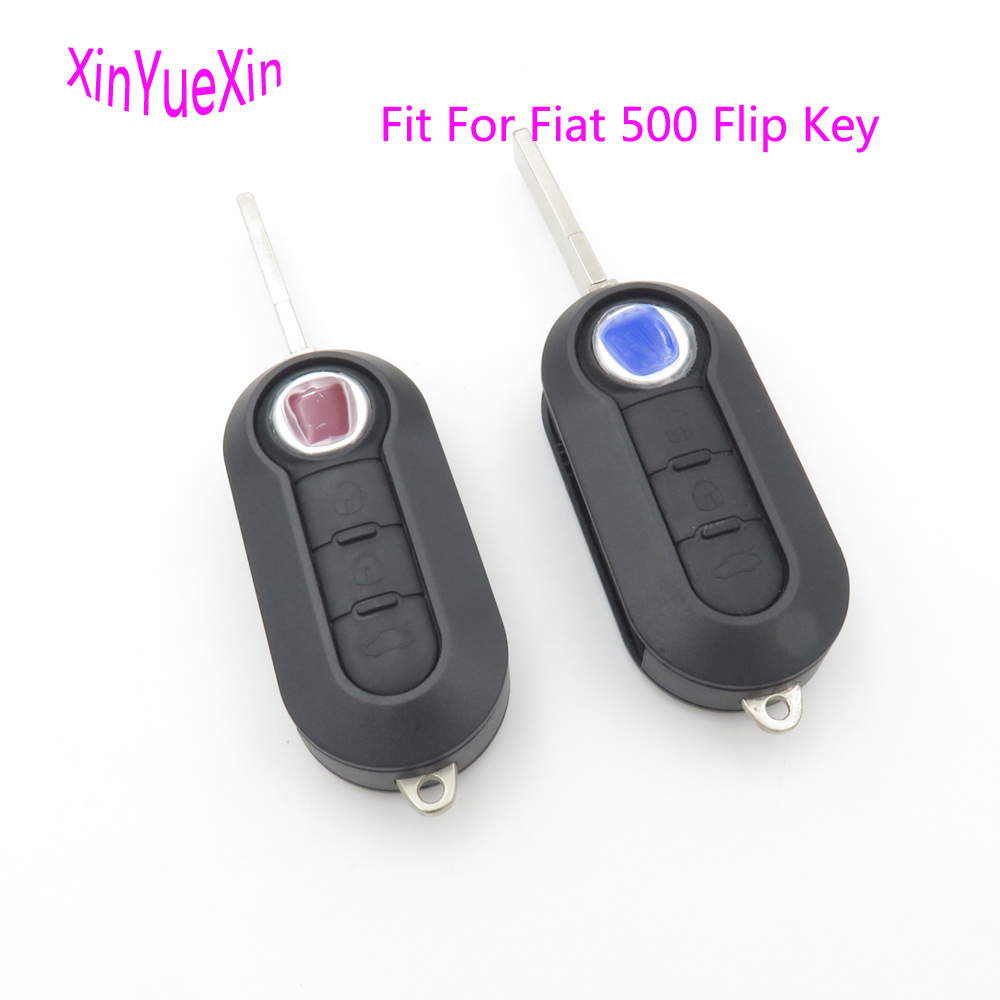 Xinyuexin 3Buttons Flip Remote Key Shell FOB Case For FIAT 500 Panda Folding Car Key Shell Plastic Replacement free shipping flip remote key shell colorful replacement cover shell for fiat 500 panda punto bravo case