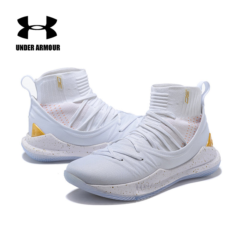 Under Armour Mens Curry 5 Basketball Shoes Gold White Sports Breathable