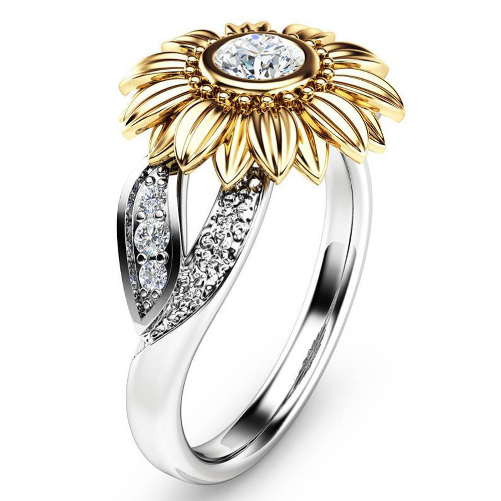 Charm Exquisite Womens Two Tone Silver Floral Ring Round Diamond Gold Sunflower For Girls Jewelry Making 2018