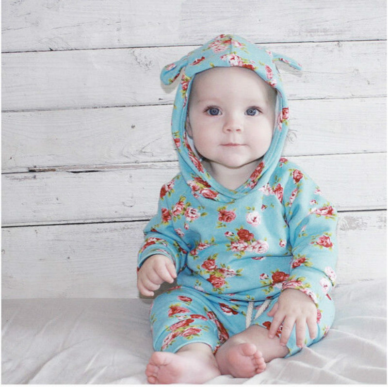 885aeae3792 New Red Rose Floral Print Toddler Kids Baby Girl Hooded Sweatshirt Top    Long Pants 2Pcs Outfits Caual Clothes Set 0 24M-in Clothing Sets from  Mother   Kids ...