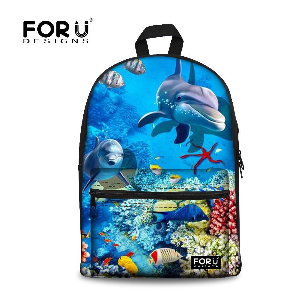 FORUDESIGNS Cool Backpacks for Teenage Girls Blue Ocean Shark ...