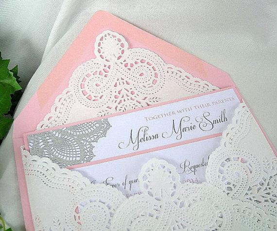 Pink And Gold Wedding Invitations Cloveranddot
