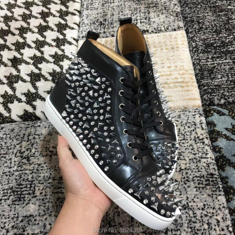 Sports Air up Haute Casual top Mocassins 2018 Plein Cuir Argent Fond Rouge Cl Andgz Chaussures De Noir Plat Dentelle Désordre Rivets En CWQxEdoeBr