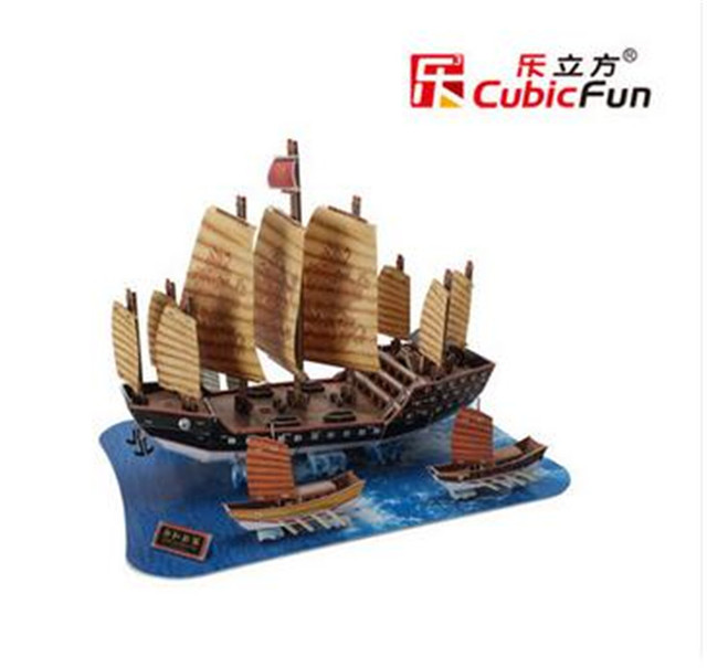Cubic Fun 3D Jigsaw Puzzle Children Toy Zheng He's fleet Old Ship modeling T4016h