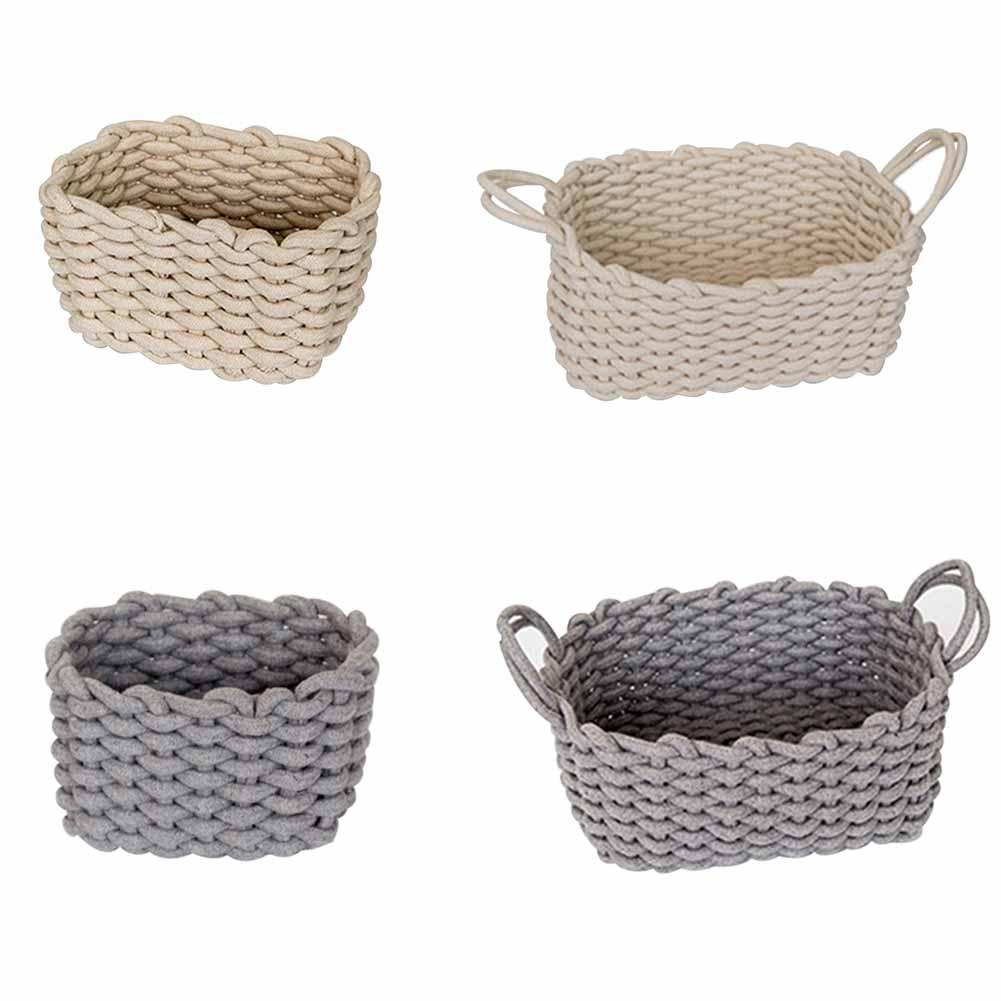 Nordic Handmade Cotton Rope Woven Storage Basket Solid Gray Basket for Clothes Cosmetic Organizer Home Storage Organization