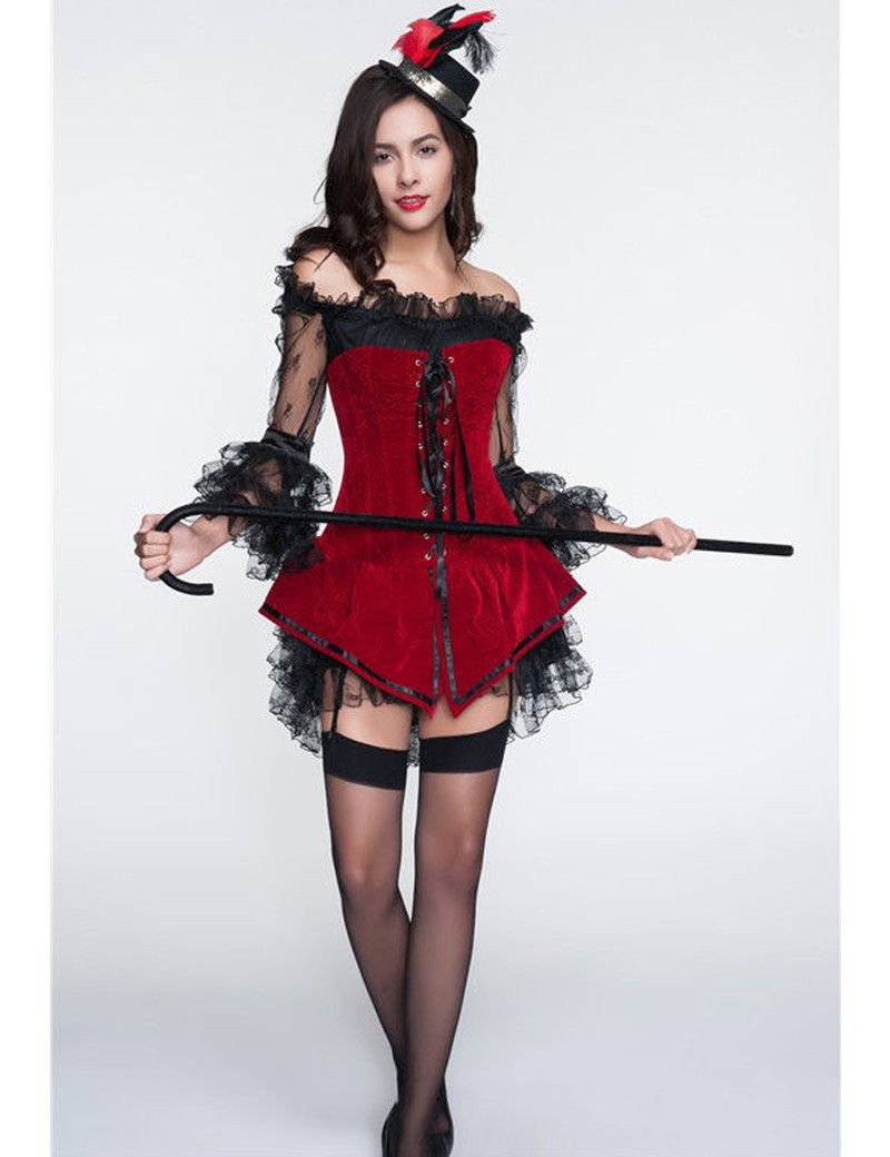 vocole sexy overbust corset lace mini dress halloween costume front lace up caribbean pirates cosplay carnival - Corsets Halloween Costumes