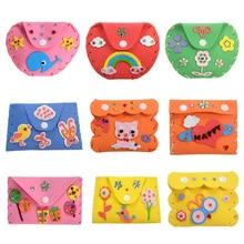 Random Dilvery Kids DIY Craft Kits EVA Wallets Purse Cartoon Kids Foam Stickers Crafts Puzzle Baby