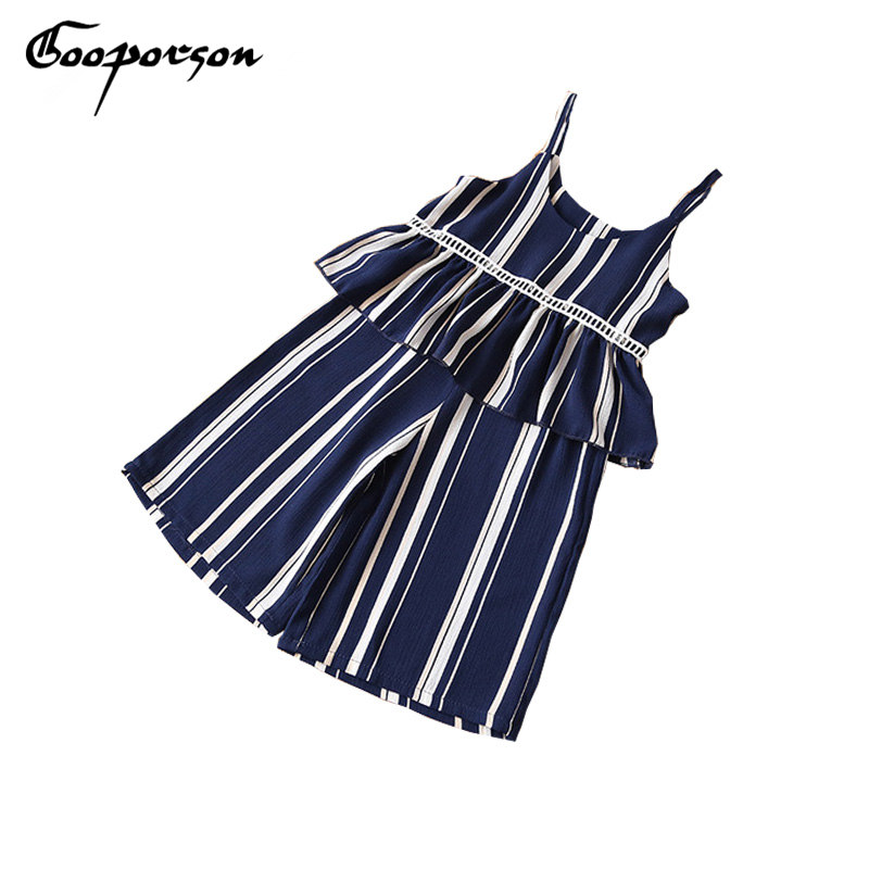 Girl Summer Clothes Striped Shoulderless Vest & Wide Leg Pants 2 pcs Chiffon Clothing Set baby Girl Fashion Clothes Kids Suit jg108 3cm wide fashion clothing