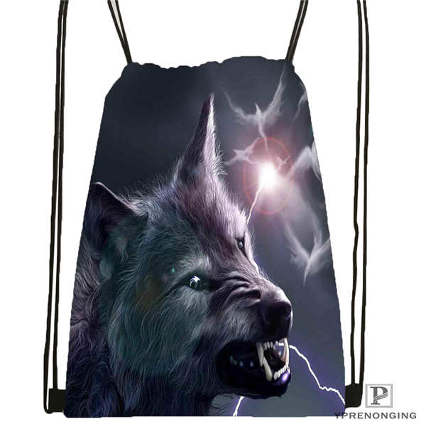 Custom Wolf_moon_by_kyghost@02- Drawstring Backpack Bag Cute Daypack Kids Satchel (Black Back) 31x40cm#180611-03-107