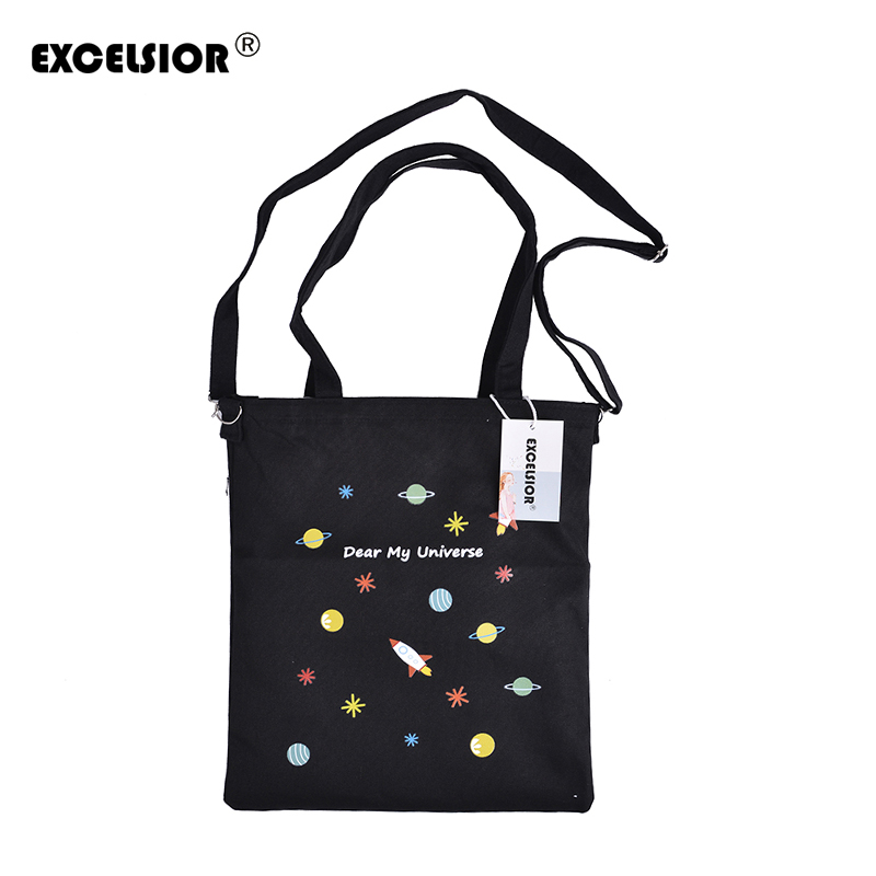 EXCELSIOR Designers Brand Lovely Cartoon Printed Women Zipper Shopping Bag Tote Girl Handbags Double Shoulder Female Beach Bags